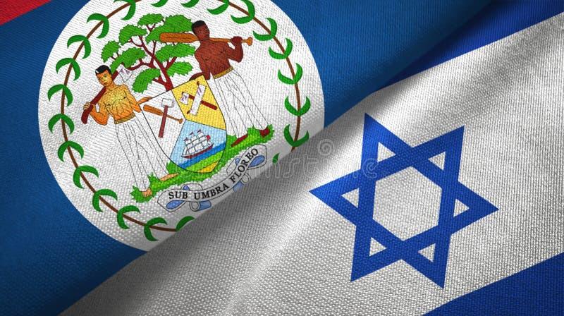 Belize i Izrael dwa flagi tekstylny p??tno, tkaniny tekstura ilustracja wektor