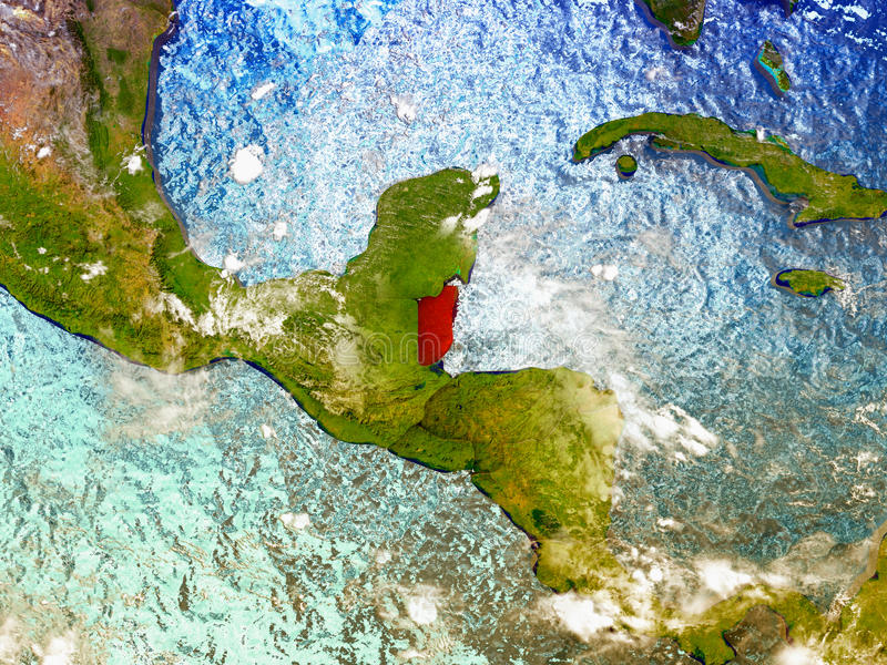 Belize on illustrated globe. Belize highlighted in red on illustrated globe with realistic ocean waters and clouds as seen from Earth's orbit in space. 3D vector illustration