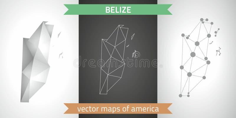 Belize kolekcja wektorowego projekta map, szarej, czarnej i srebnej kropka konturu mozaiki 3d mapa nowożytna, royalty ilustracja