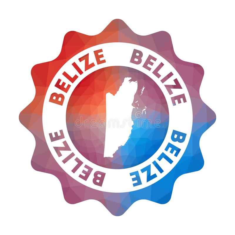 Belize low poly logo. Colorful gradient travel logo of the country in geometric style. Multicolored polygonal Belize rounded sign with map for your vector illustration