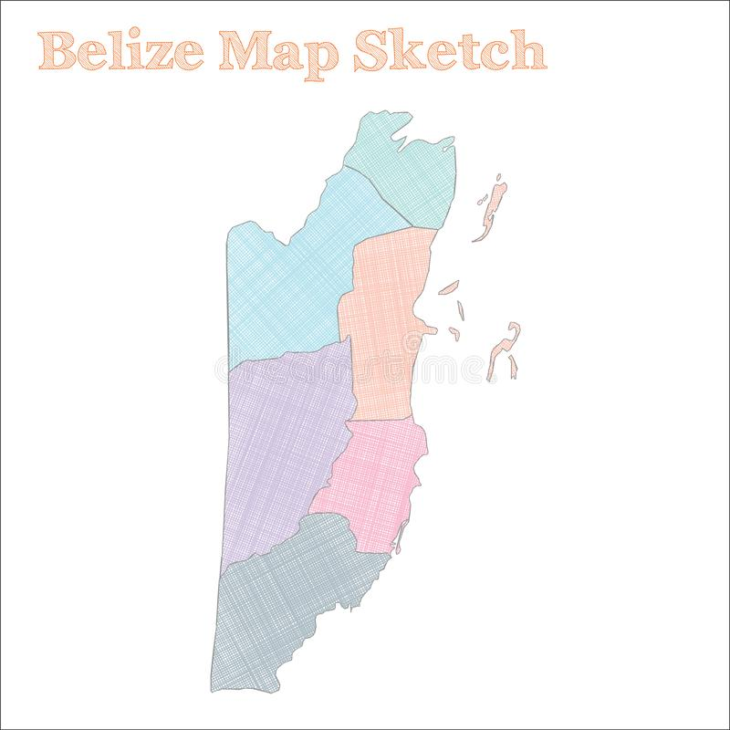 Belize map. Hand-drawn country. Captivating sketchy Belize map with regions. Vector illustration stock illustration