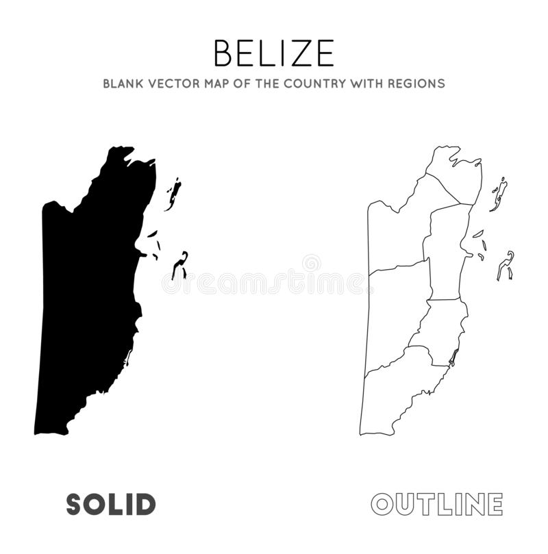 Belize map. Blank vector map of the Country with regions. Borders of Belize for your infographic. Vector illustration vector illustration