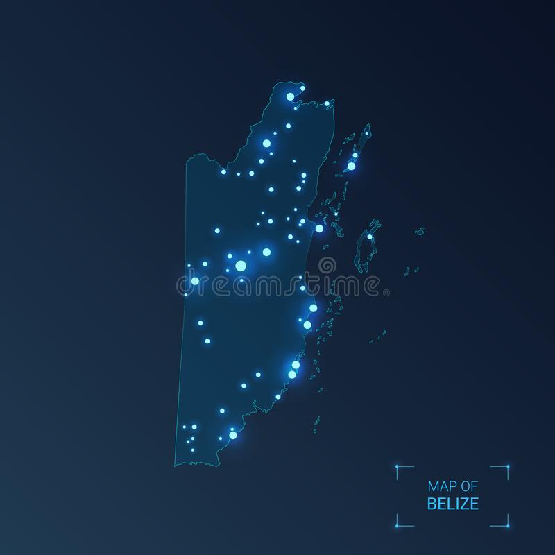 Belize map with cities. Luminous dots - neon lights on dark background. Vector illustration stock illustration