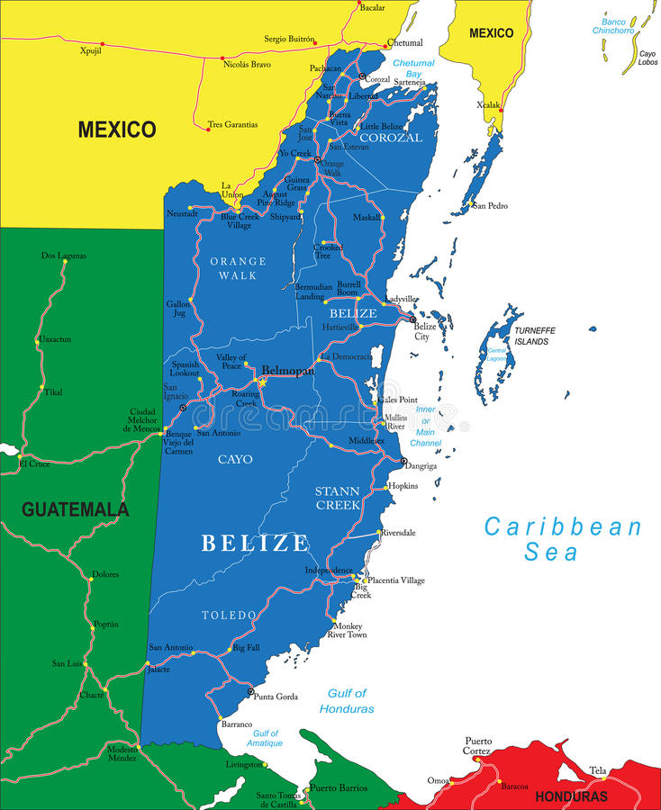 Belize map. Highly detailed vector map of Belize with administrative regions, main cities and roads royalty free illustration