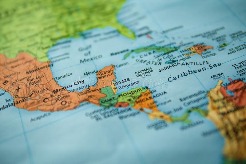 Belize on a map. Selective focus on label stock photo