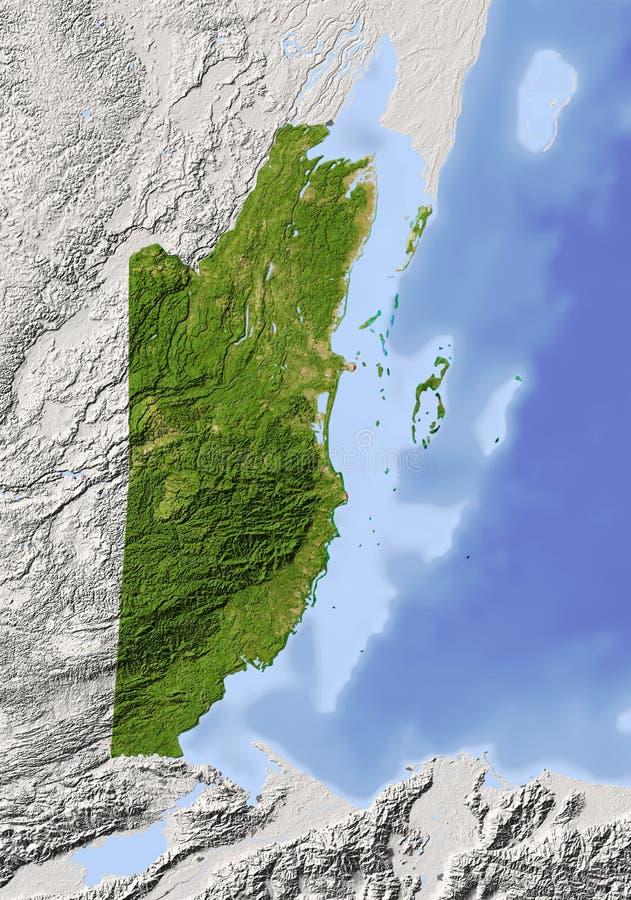 Belize, mapa de relevo protegido ilustração royalty free