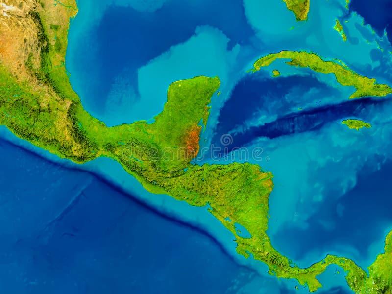 Belize on physical map stock illustration Illustration of render