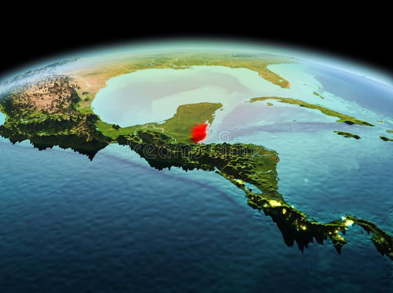 Belize on planet Earth in space. Morning above Belize highlighted in red on model of planet Earth in space. 3D illustration. Elements of this image furnished by royalty free stock images