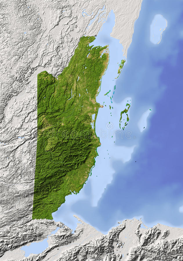 Belize, shaded relief map. Belize. Shaded relief map. Surrounding territory greyed out. Colored according to vegetation. Includes clip path for the state area royalty free illustration