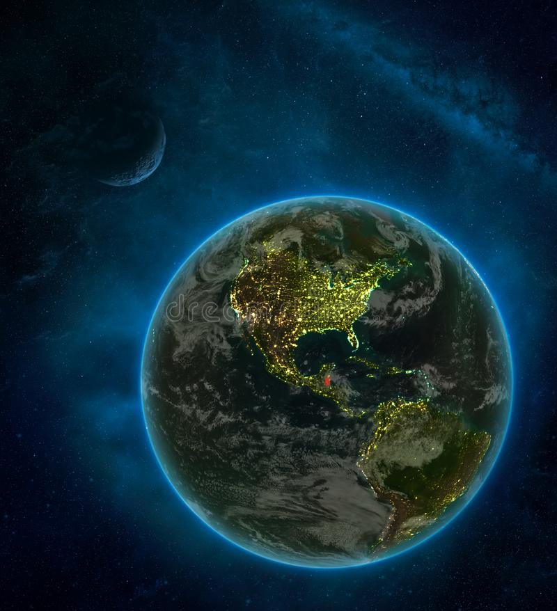 Belize from space on Earth at night surrounded by space with Moon and Milky Way. Detailed planet with city lights and clouds. 3D. Illustration. Elements of this royalty free illustration