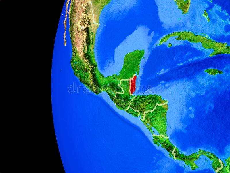 Belize from space. On realistic model of planet Earth with country borders and detailed planet surface. 3D illustration. Elements of this image furnished by vector illustration
