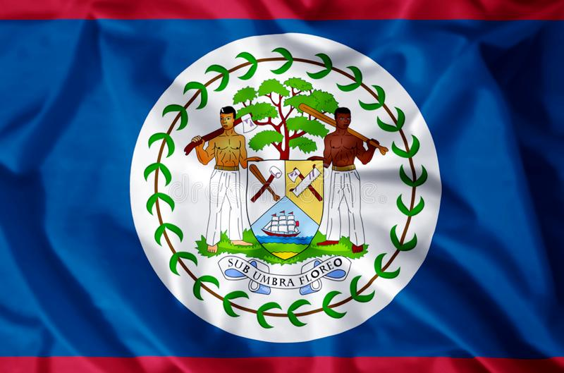 Belize. Stylish waving and closeup flag illustration. Perfect for background or texture purposes royalty free illustration