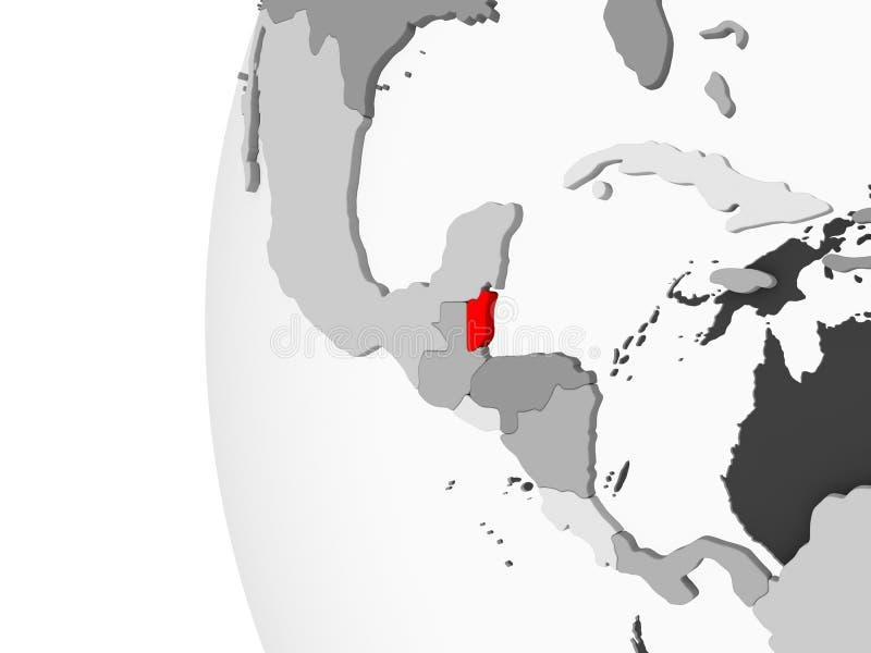 Belize sul globo grigio royalty illustrazione gratis