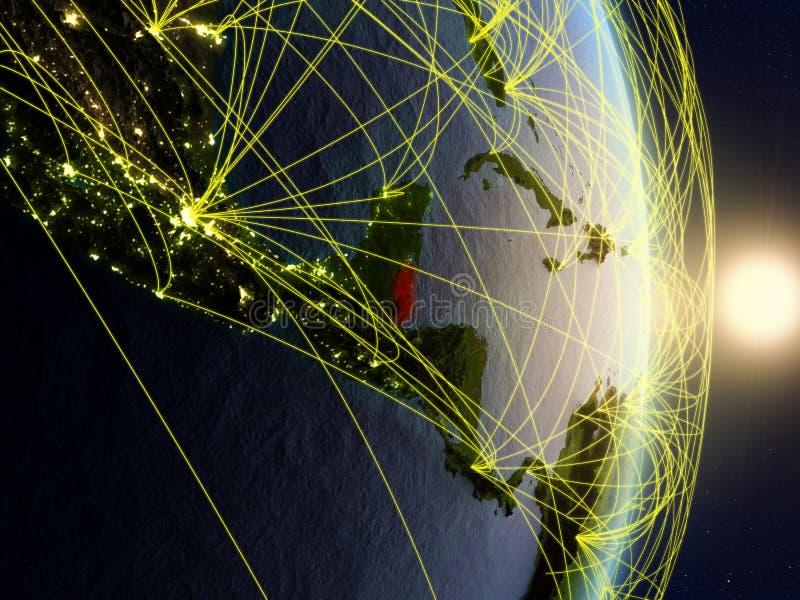 Belize sur la terre reliée au réseau de planète image stock