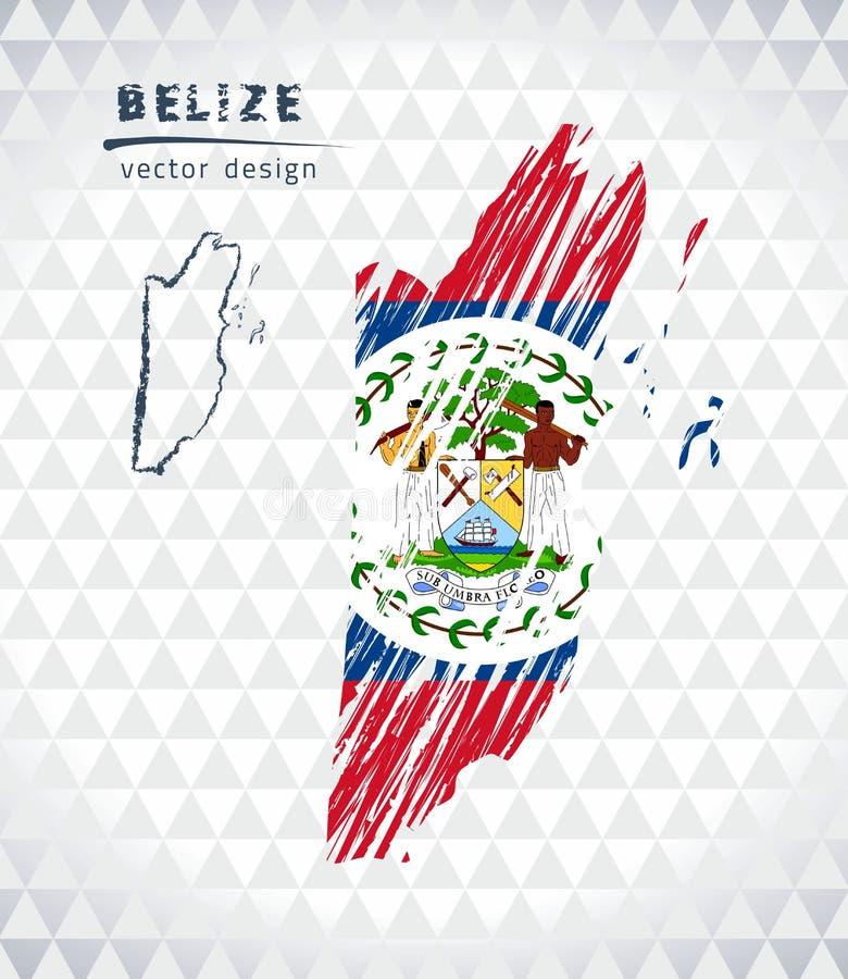 Belize-Vektorkarte mit dem Flaggeninnere lokalisiert auf einem weißen Hintergrund Gezeichnete Illustration der Skizzenkreide Hand vektor abbildung