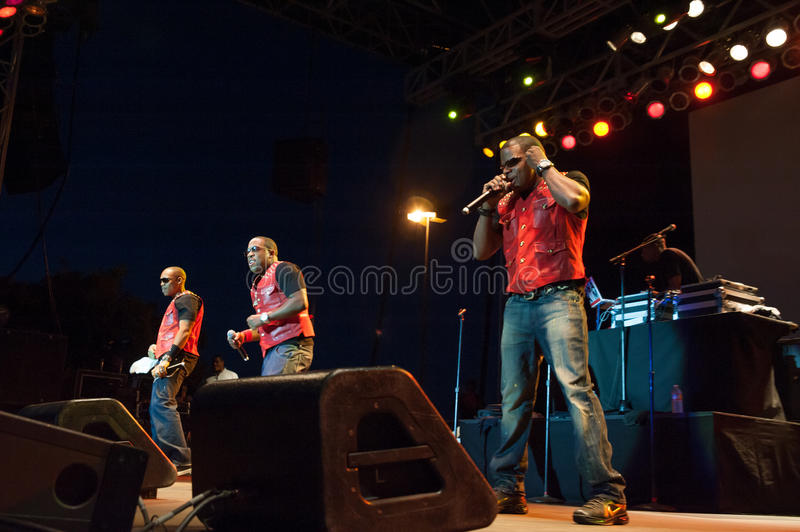 Bell Biv Devoe. CITRUS HEIGHTS, CA - AUGUST15: Hip-hop group Bell Biv Devoe performs at the Sunrise at Night Concert Series at Sunrise Marketplace in Citrus stock image
