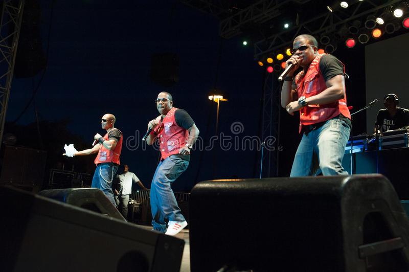 Bell Biv Devoe. CITRUS HEIGHTS, CA - AUGUST15: Hip-hop group Bell Biv Devoe performs at the Sunrise at Night Concert Series at Sunrise Marketplace in Citrus stock photos