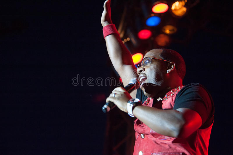 Bell Biv Devoe. CITRUS HEIGHTS, CA - AUGUST15: Michael Bivins of Bell Biv Devoe performs at the Sunrise at Night Concert Series at Sunrise Marketplace in Citrus royalty free stock images