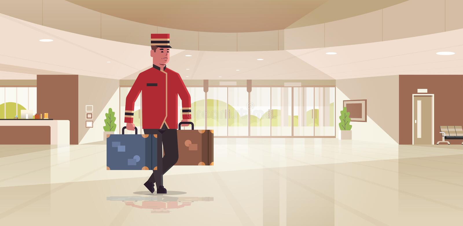 Bell boy carrying suitcases hotel service concept bellman holding luggage male worker in uniform modern reception area. Lobby interior full length horizontal vector illustration
