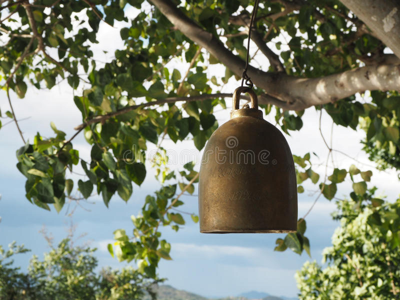 Bell at Buddhist temple stock photos