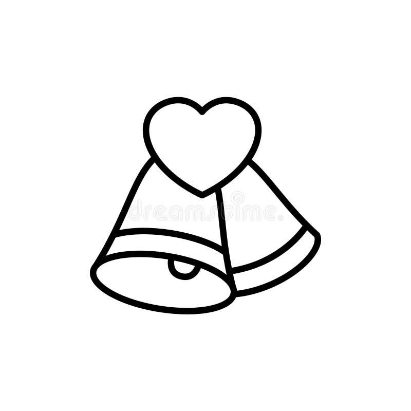 Bell con el icono del amor ejemplo de la ceremonia de boda símbolo limpio simple del monoline libre illustration