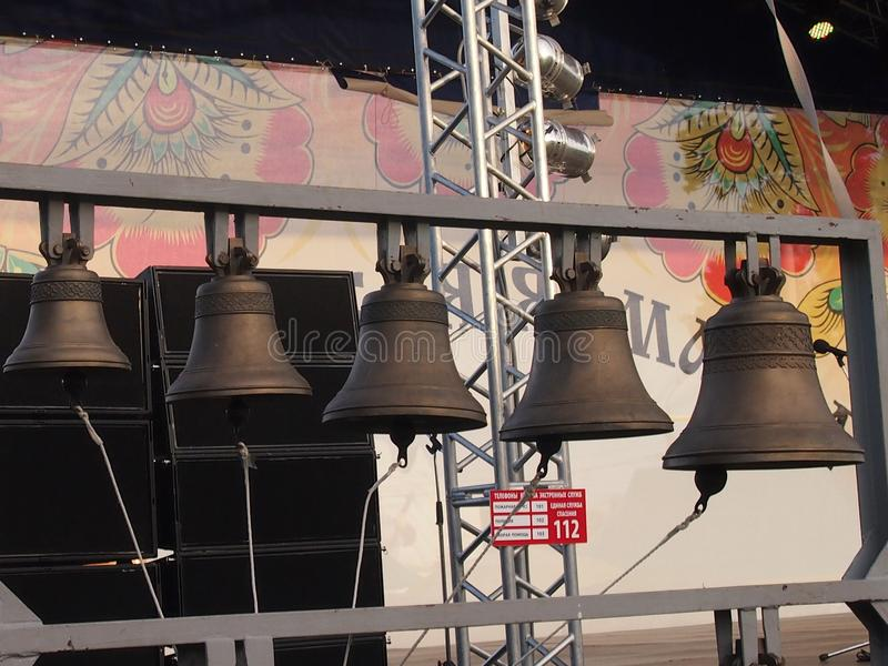 Bell. The covered belfry with bells in case of the men`s orthodox monastery stock photo