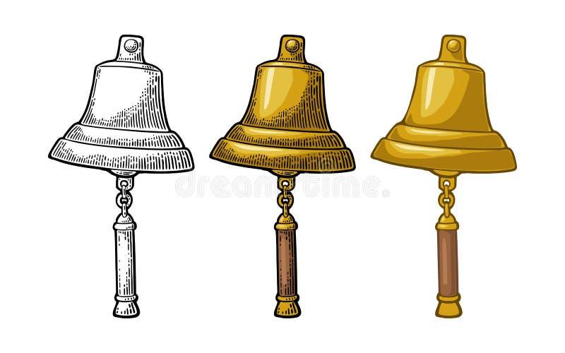 Bell dal fondo bianco isolato della nave di navigazione Incisione d'annata di vettore illustrazione di stock