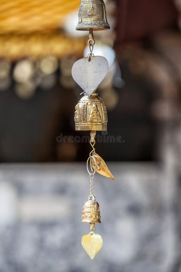 Bell dans le temple bouddhiste, Chiang Mai, Thaïlande images libres de droits