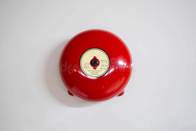 BELL FIRE ALARM, RED. On white royalty free stock photography
