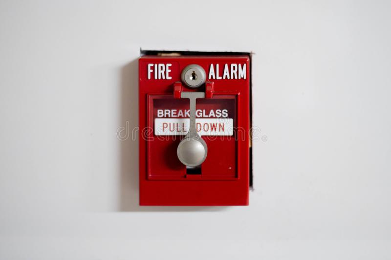 FIRE ALARM, RED. BELL FIRE ALARM, RED on white royalty free stock image