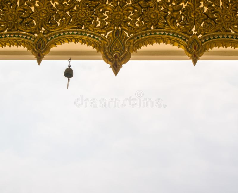 Bell hang on the roof of the temple in Thailand royalty free stock photo