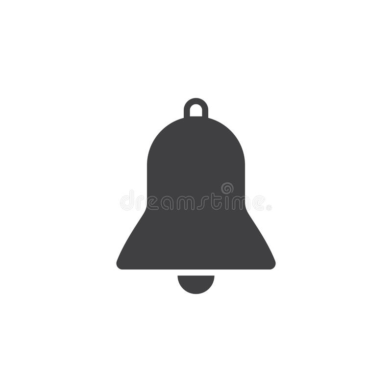 Bell icon , alarm solid logo illustration, pictogram isola. Ted on white stock illustration