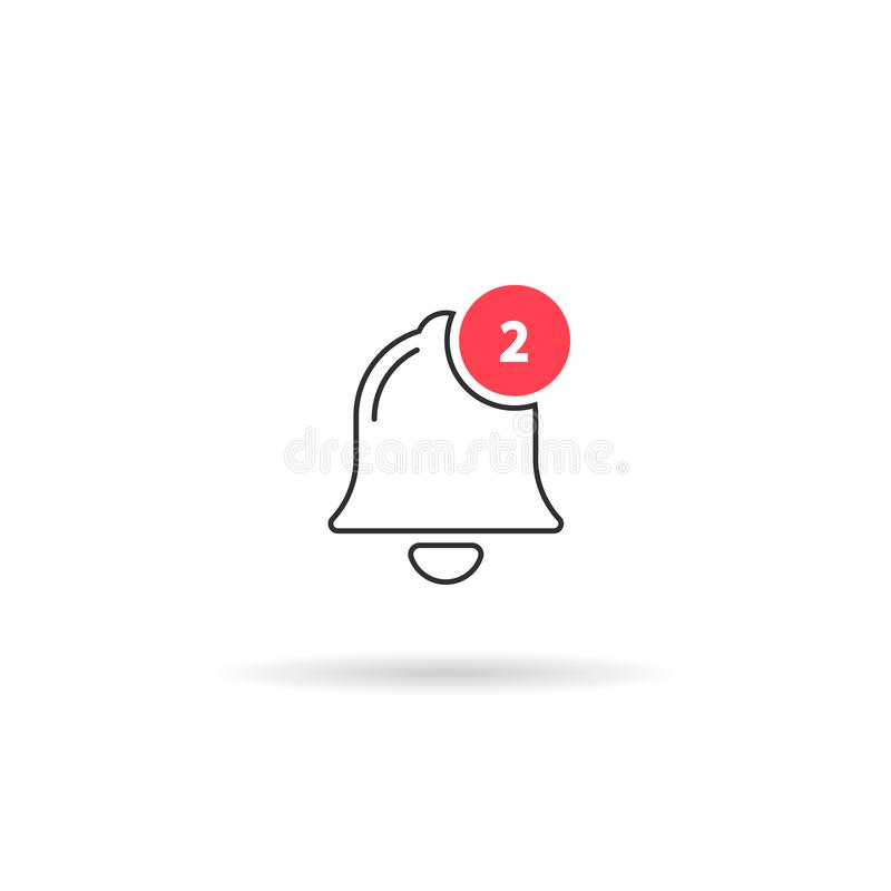 bell icon, 2 notification. vector outline flat style symbol isolated on white stock illustration