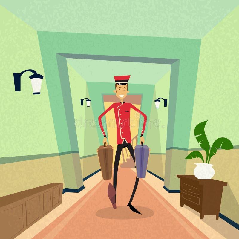 Bell-Junge Carry Suitcase Indoor Hotel Porter vektor abbildung