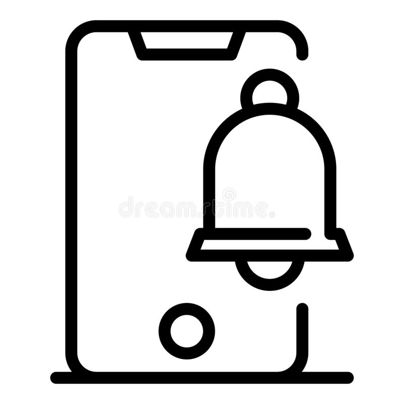Bell message alert icon, outline style royalty free illustration