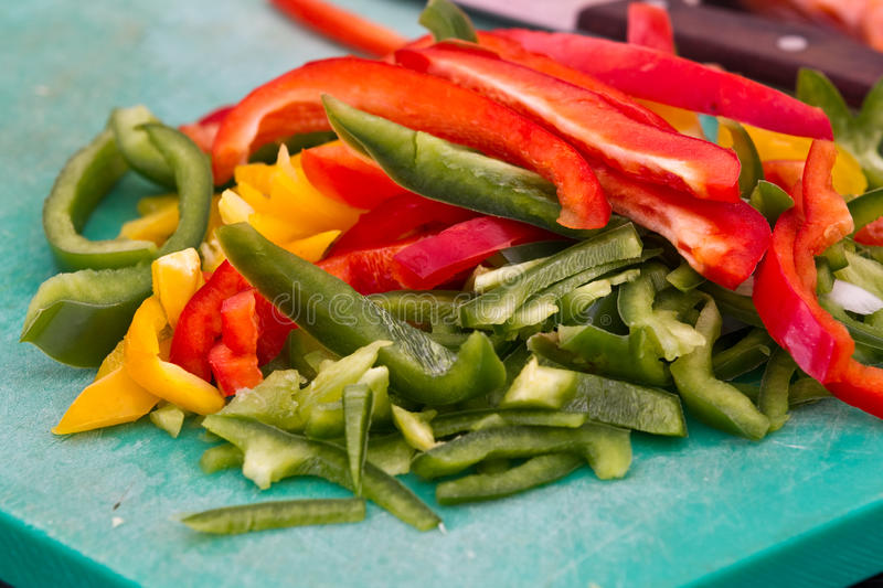Bell-pepper. Some bell-pepper prepared for cooking royalty free stock photography