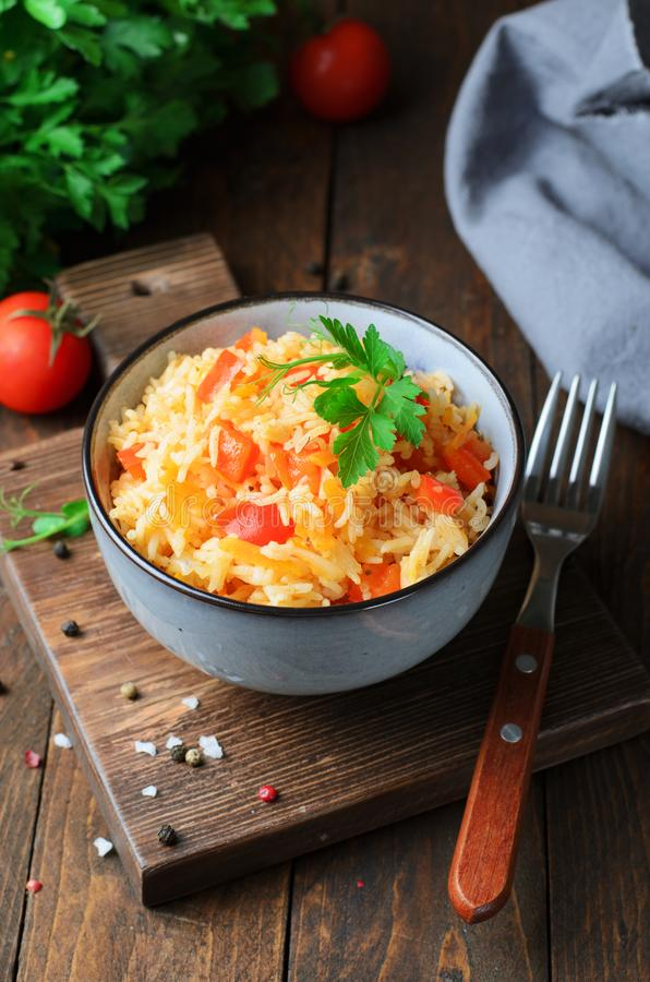 Bell Pepper and Carrot Rice, Tasty Homemade Rice with Vegetables stock image