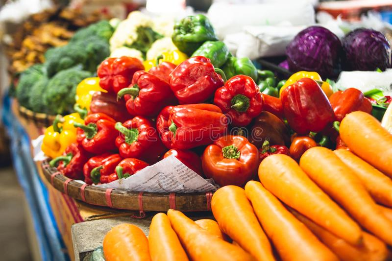 Bell pepper,carrot,In the vegetable market In Asia royalty free stock images
