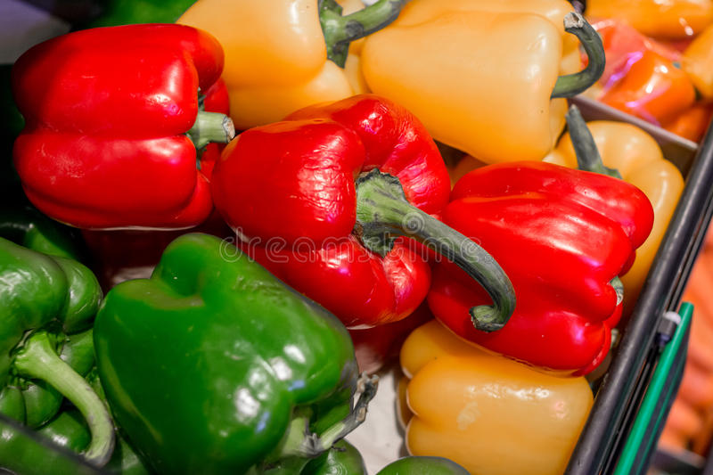 Bell Pepper close up for background. Vegetables, paprika, bell peppers of different colorful varieties. Yellow, green, red. Concept of healthy eating, abstinence royalty free stock photography
