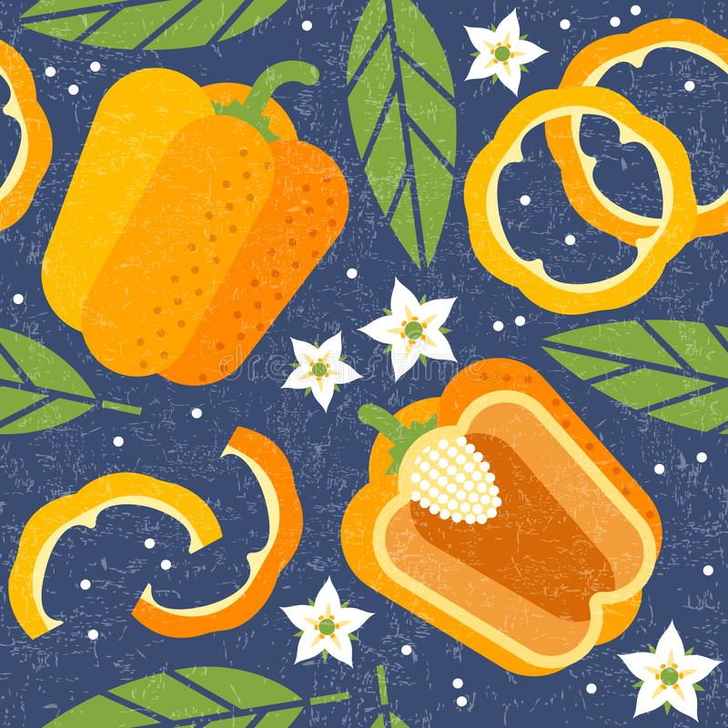 Bell pepper seamless pattern. Whole and sliced yellow peppers with leaves and flowers on shabby background. Original simple flat illustration. Shabby style royalty free illustration