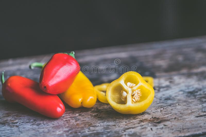 Bell Peppers on Gray Table stock image