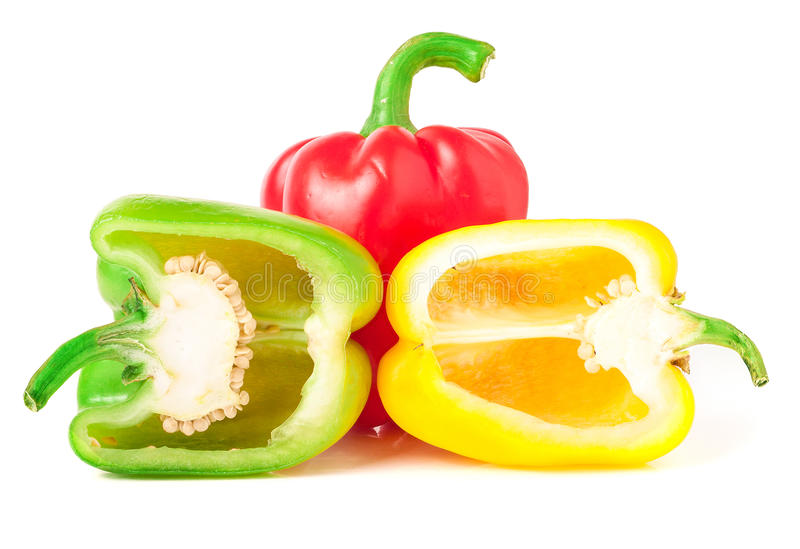 Bell peppers with half isolated on white.  stock photography
