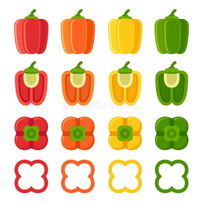 Bell peppers set stock illustration