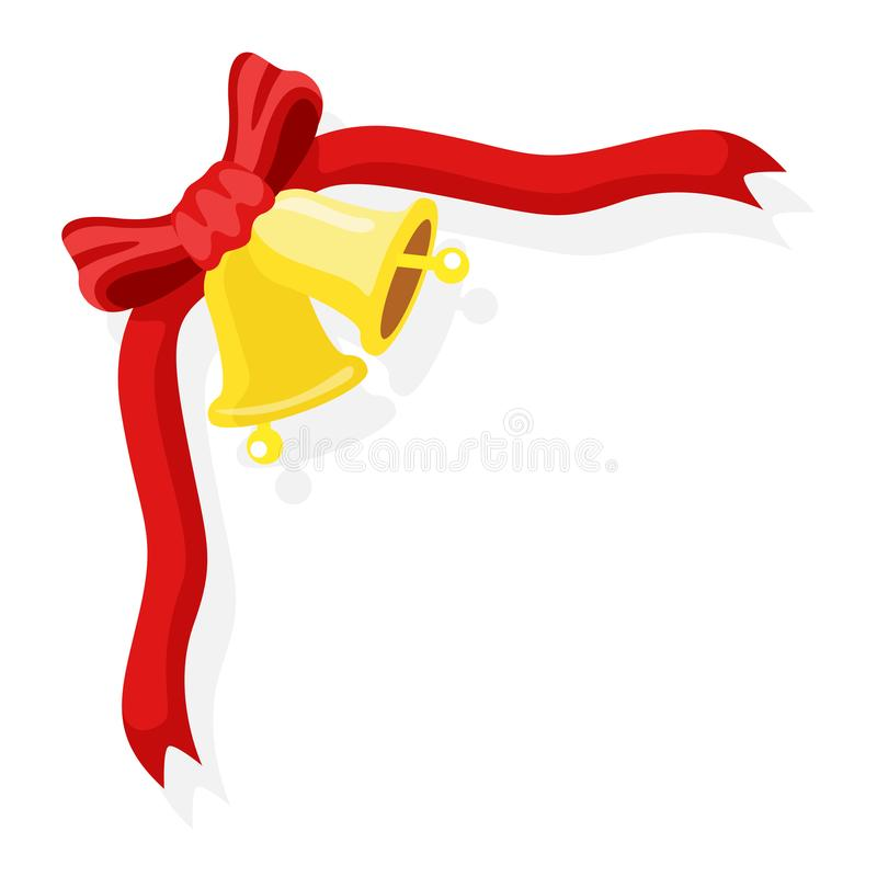 Bell with red ribbon isolated vector royalty free stock photography