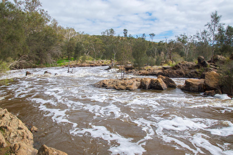 Bell River Rapids. Bell Rapids from the confluence of the Avon and Swan Rivers with granite rock formations and lush, treed riverbanks under a blue, cloudy sky royalty free stock photography