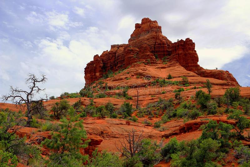 Characteristic Red Rock Formation at Bell Rock Park near Sedona, Arizona, USA. Bell Rock trail winds its way around the beautifully eroded red sandstone butte royalty free stock images