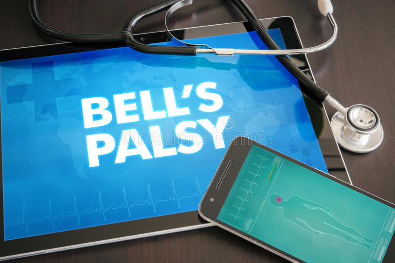 Bell's palsy (neurological disorder) diagnosis medical concept o. N tablet screen with stethoscope stock image