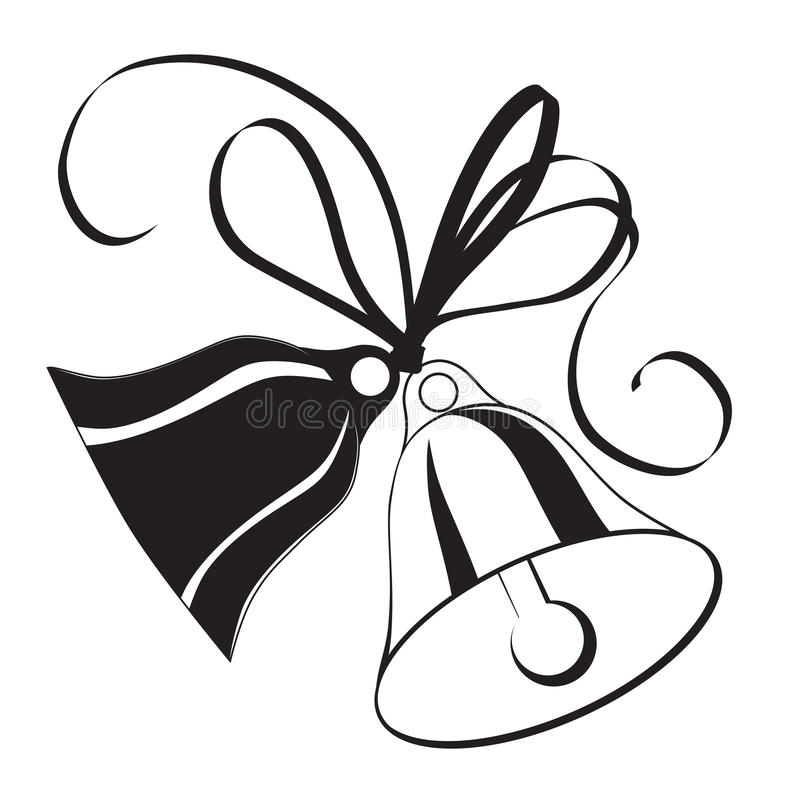 Bell sketch for Christmas or wedding with bow royalty free illustration
