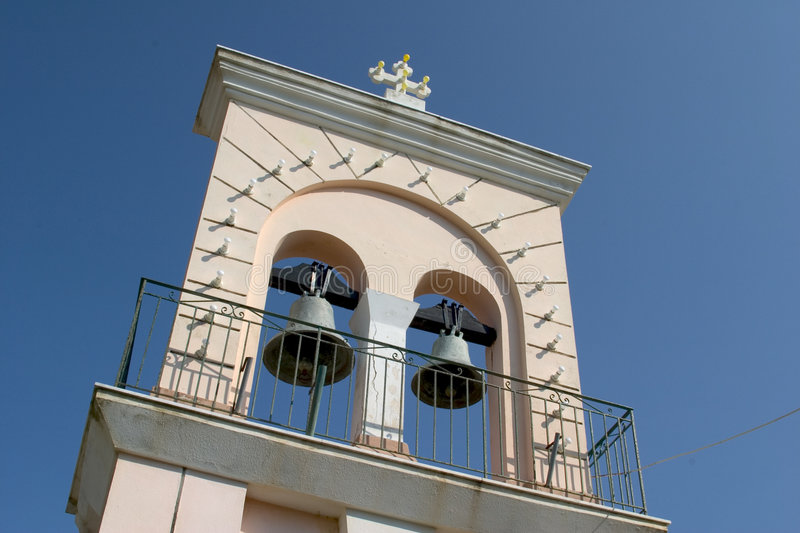 Bell tower at Afionas, Corfu, Greece stock photo