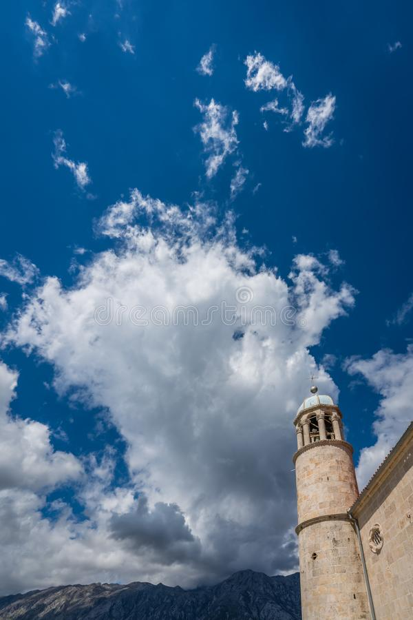 The Our Lady of the Rocks basilica tower royalty free stock photography